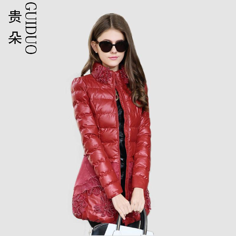 2014冬装新款棉衣女中长款加厚棉服女韩版秋冬修身PU皮棉袄外套