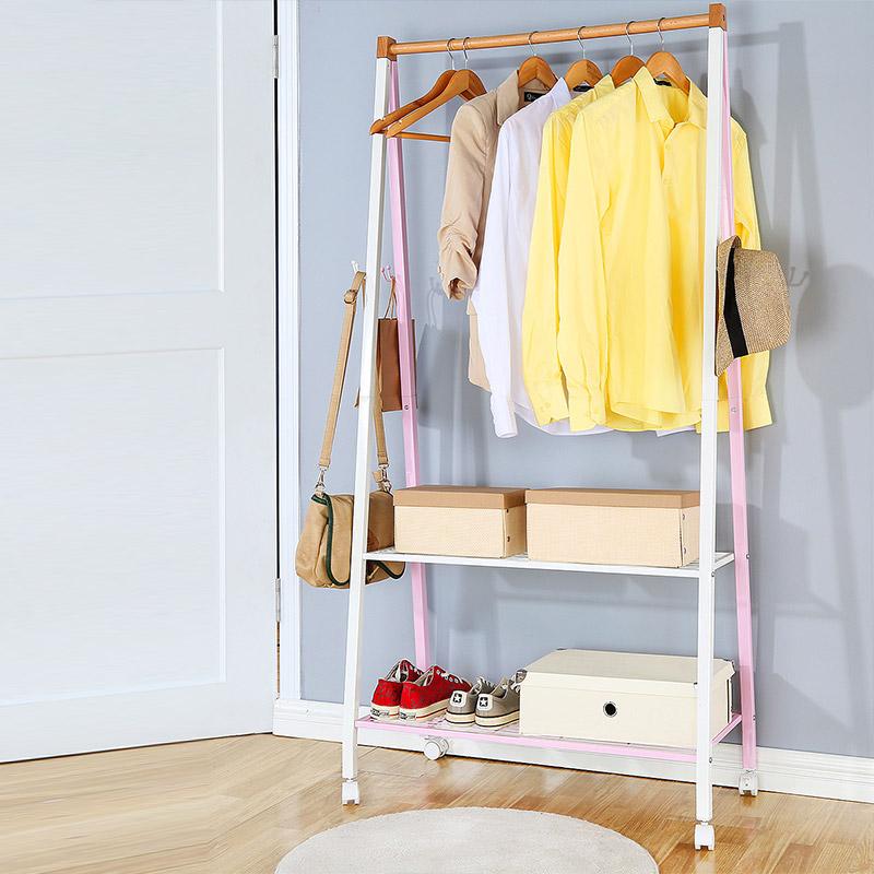 住宅家具室内阳台晾衣架落地简易衣服柜钢架衣架鞋架组合衣帽架子