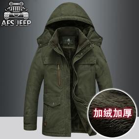 AFS JEEP男中长款冬季大码外套加绒加厚保暖棉袄男士战地吉普棉衣