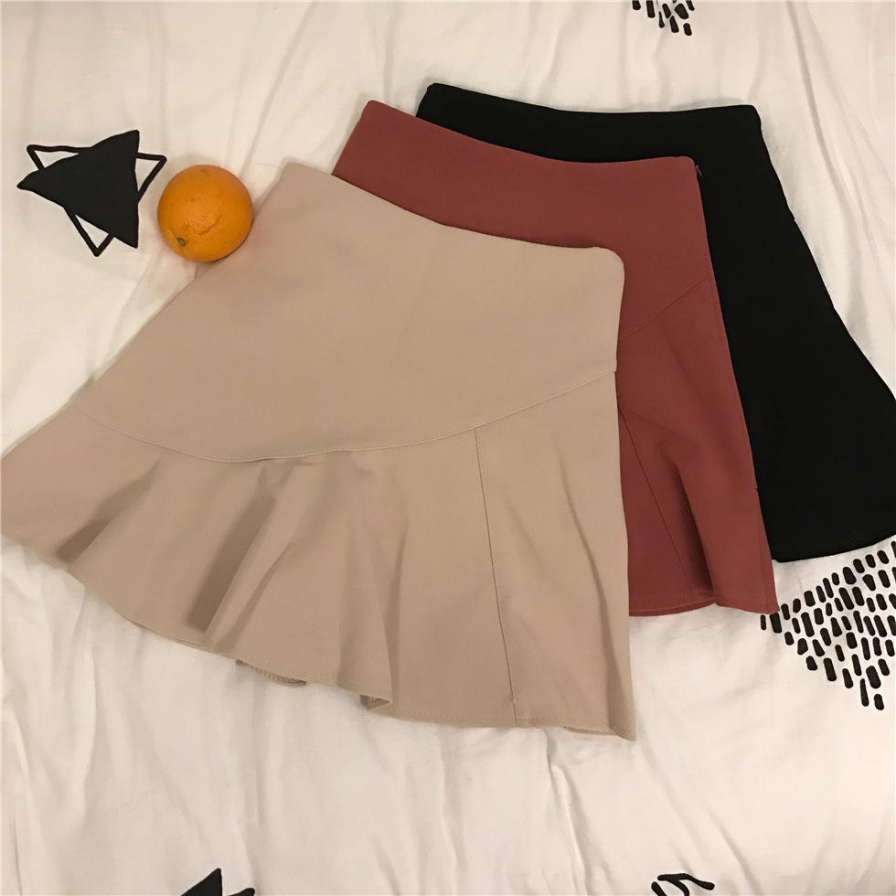 学生半身纯色高腰荷叶下摆短裙韩国复古