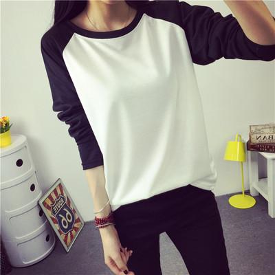 秋季打底衫韩版大码纯色长袖T恤女春季韩版宽松学生体恤外穿上衣