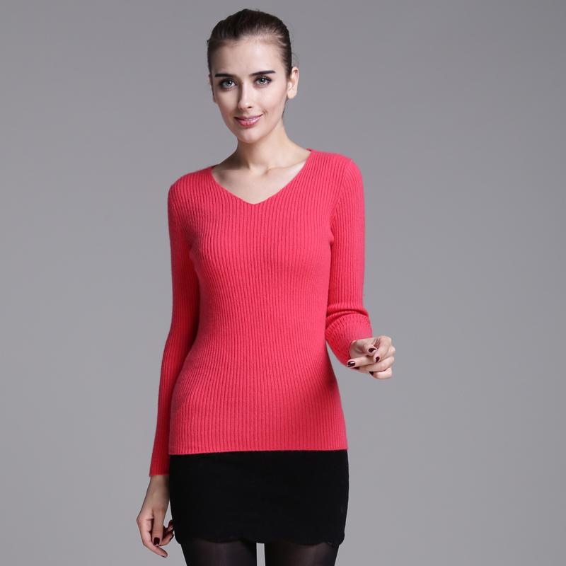 鄂尔多斯2014秋冬新款女装 女士抽条修身纯羊绒衫毛衣女款针织V领