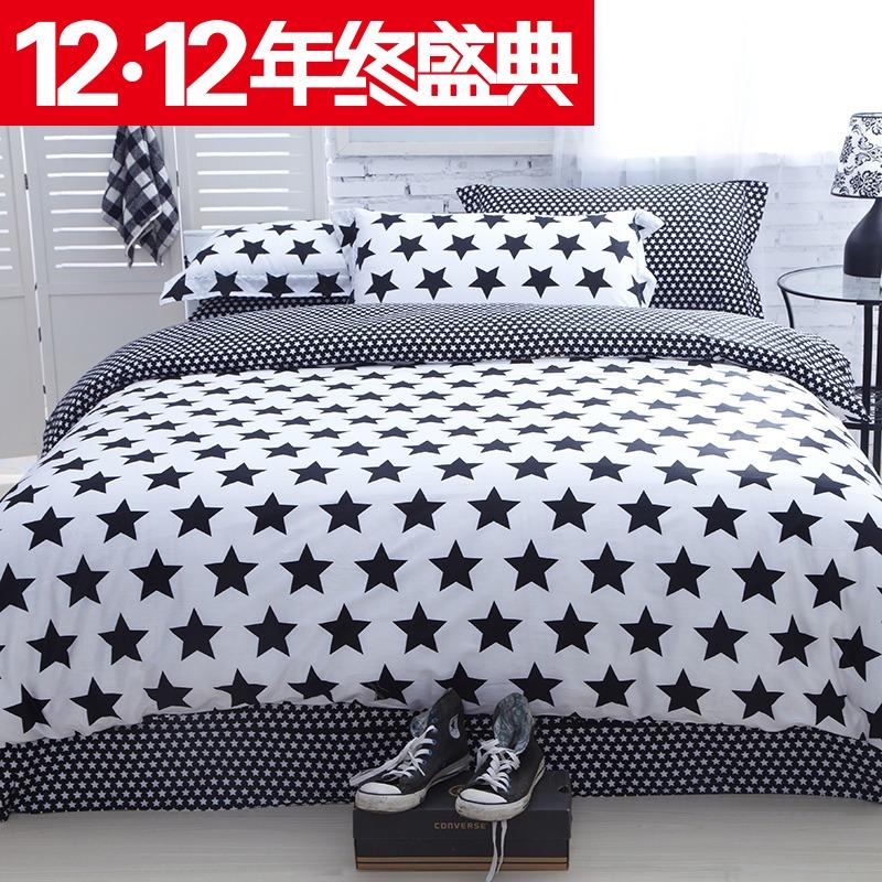 蔓琳阁家纺 欧美床单式四件套 纯棉黑白格条风 简约时尚四件套