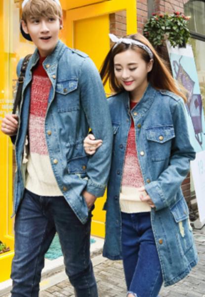 2015时尚秋装新款韩版男女牛仔外套长袖夹克衫百搭开衫花色情侣装