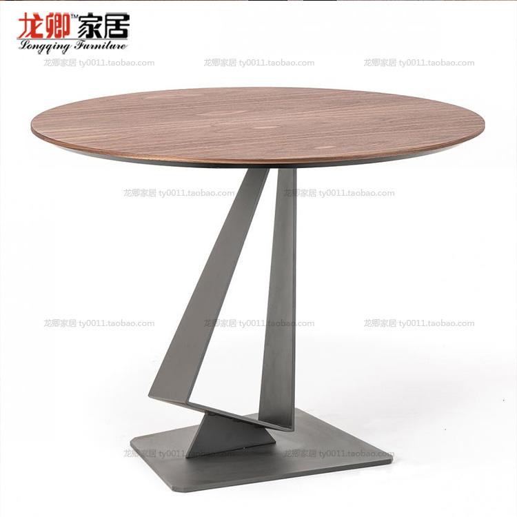 loft美式实木圆形餐桌咖啡厅桌椅铁艺书桌电脑洽谈桌