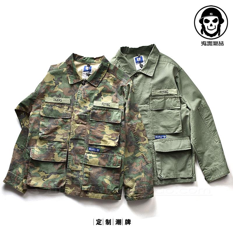 军事风 宽体大袖子 军大衣 宽松大码外套 多口袋翻领夹克潮 薄款