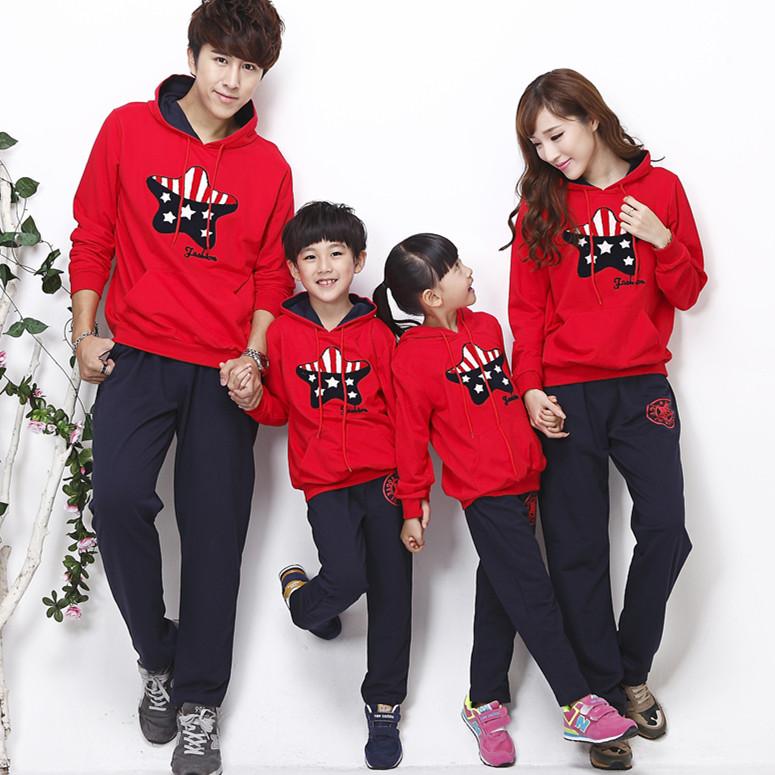 2014新款亲子装秋装冬装三口母女母子全家套装休闲运动加绒加厚韩