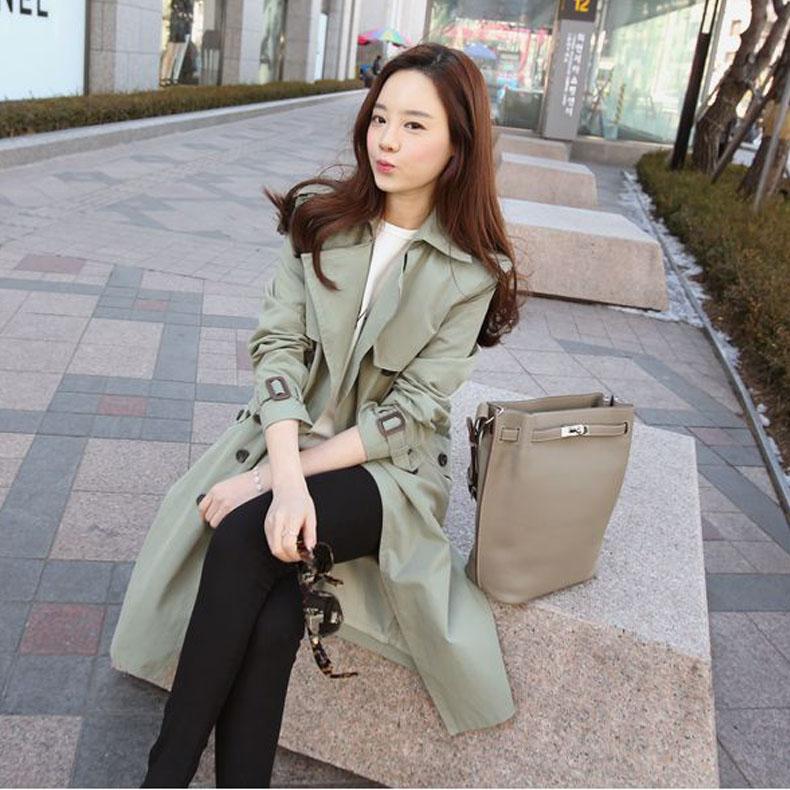 香港IT正品代购秋装新款韩国SZ修身风衣女装修身中长款风衣外套