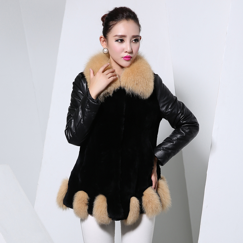 2014新款海宁真皮皮衣拼接獭兔狐狸毛女士中长款韩版冬季北方版