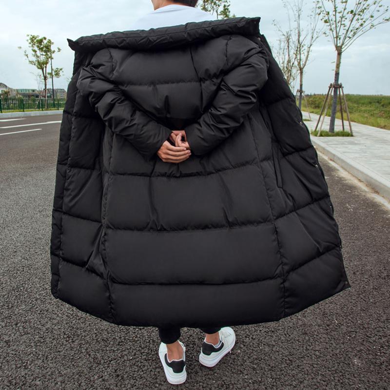 男装冬季新款纯色立领加厚保暖修身韩版青年外套潮中长款羽绒服男