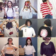 韩国ulzzang原宿学生白色短袖T恤女宽松BF学院风闺蜜装情侣衣服潮