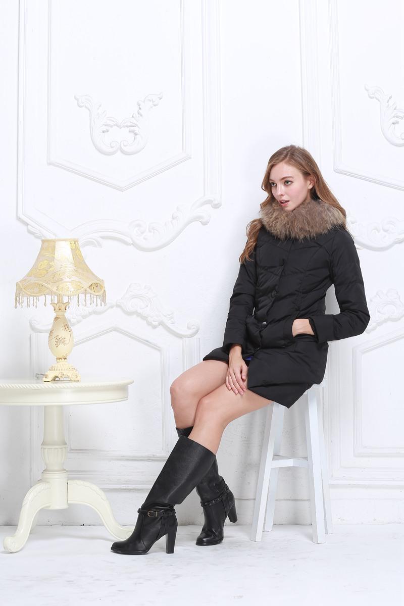 专柜2014冬装正品羽绒服女韩版中长款连帽修身显瘦加厚大毛领潮