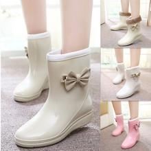 女日韩时尚 雨靴可爱蝴蝶结加绒中筒水鞋 胶鞋 套鞋 包邮 秋冬雨鞋 新款