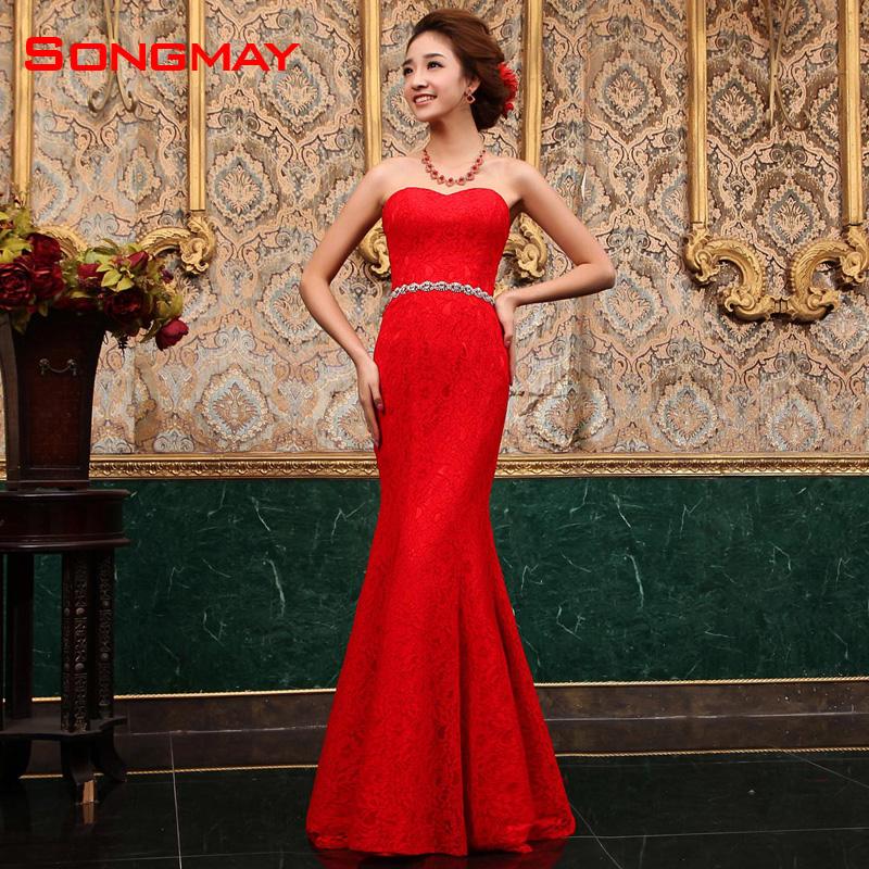 新款红色结婚新娘蕾丝敬酒服鱼尾婚纱晚礼服长款修身旗袍演出服