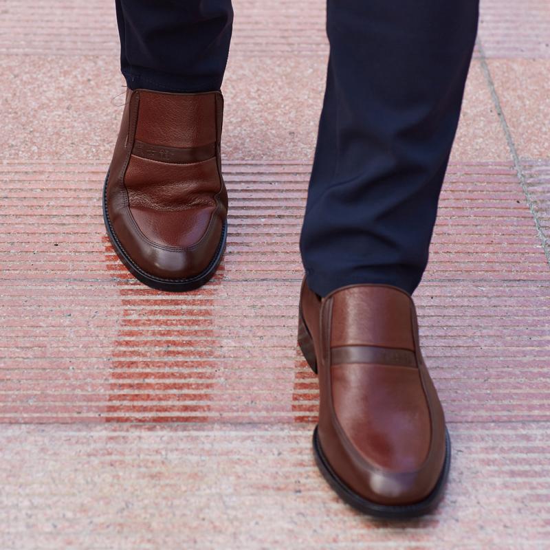 武士龍B05 真皮头层皮男士皮鞋英伦风复古黑色商务正装皮鞋