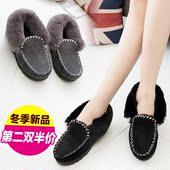 新品豆豆鞋女加绒冬季雪地靴厚底短筒靴保暖棉鞋毛毛鞋学生鞋子