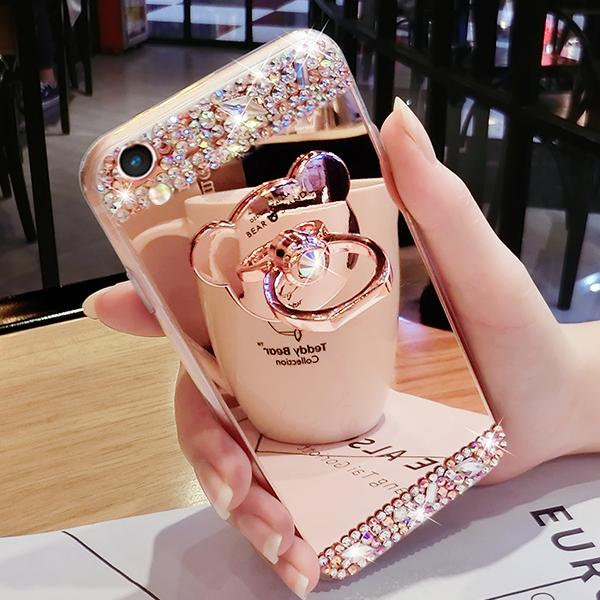oppo r9s手机壳r9plus奢华镜面硅胶r9保护套钻小熊支架卡通女款潮