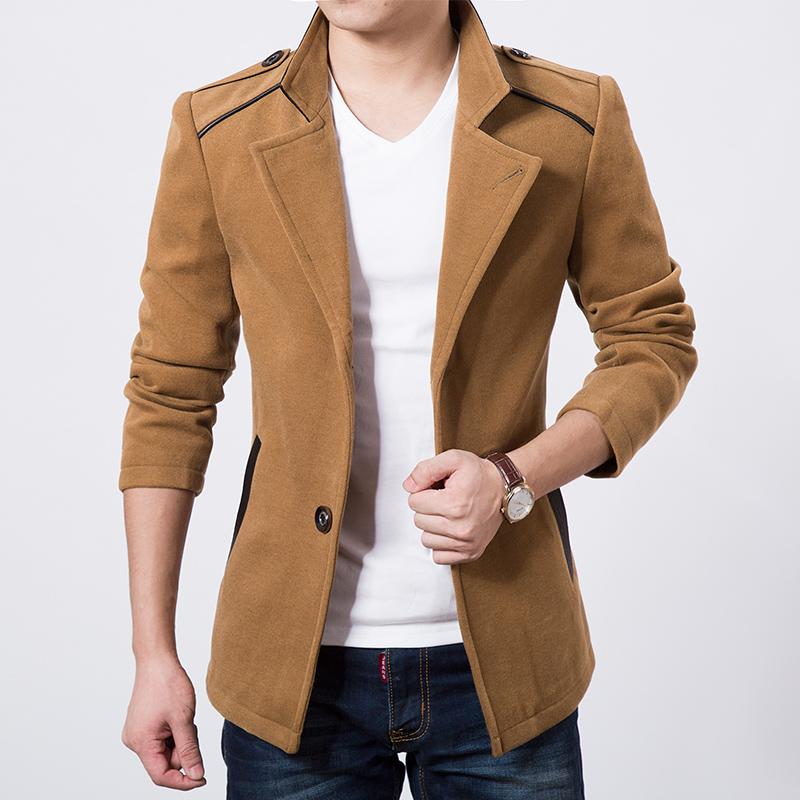 2014冬款新品外套 韩版修身时尚大衣 商务外套男 可货到付款