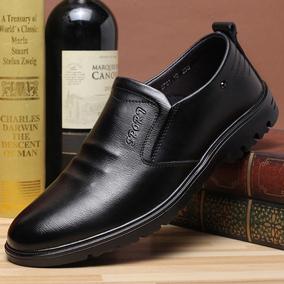 袋鼠男鞋休闲经典软牛皮不系带舒适个性懒人四季鞋日常皮鞋单鞋男
