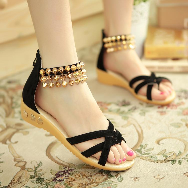 2015夏季新款平底女凉鞋串珠中跟凉鞋女鞋罗马鞋甜美坡跟女式凉鞋