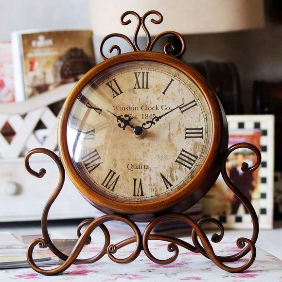 精工包邮正品客厅复古时钟表欧式美式铁艺仿古台座钟