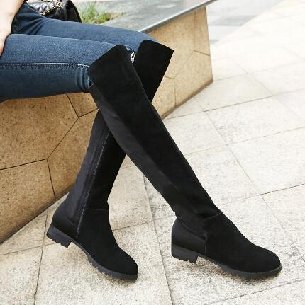 2014秋冬季新款 真皮平底大码瘦腿长筒过膝长靴 高筒弹力女靴子