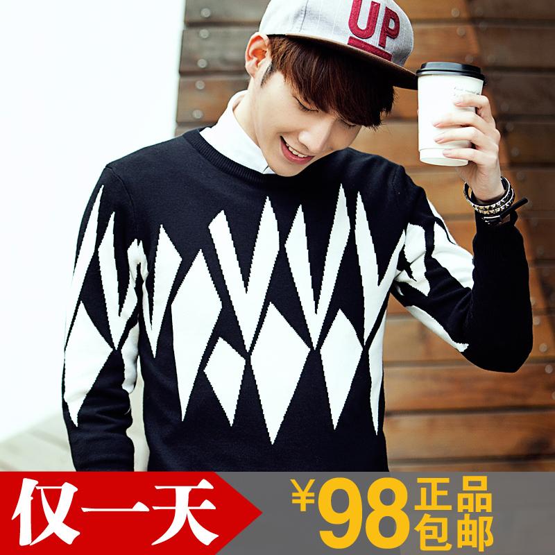 2015新款冬季毛衣 男士修身型韩版圆领针织衫 青年加厚英伦线衣潮