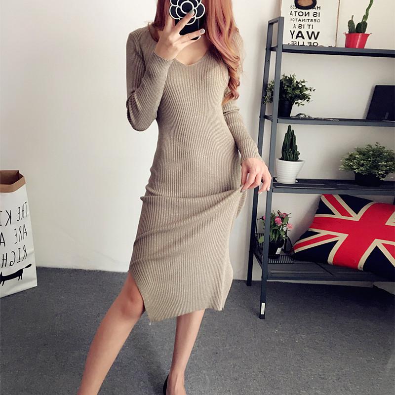 秋冬新款大码女装V领亮丝下摆开叉长袖针织连衣裙显瘦包臀长裙子