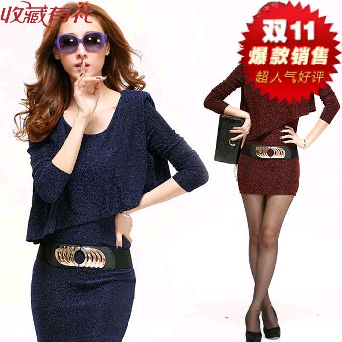 韩版2015秋冬季新款大码女装长袖气质包臀毛呢假两件连衣裙不规则