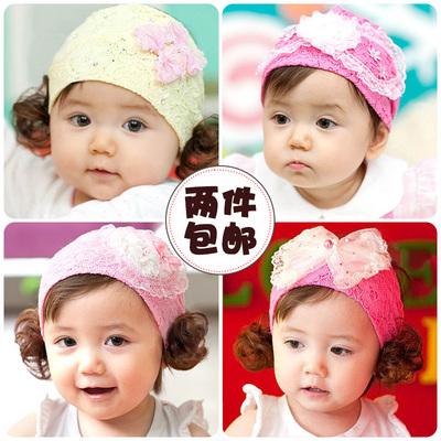 [两件包邮] 宝宝发带 韩版婴儿头花假发头饰女儿童发饰公主卷发拍照摄影发饰