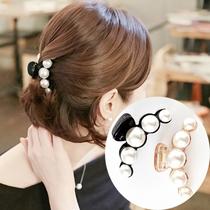 韩国进口发饰头饰品中大号发抓 日韩版珍珠发卡发夹爪夹马尾夹
