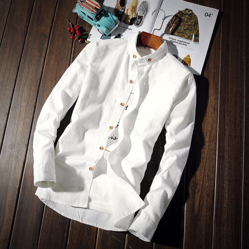 秋季保暖白男士长袖衬衫修身加绒韩版休闲男装衬衣打底青少年寸衫