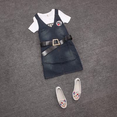 [新品促销] 欧洲站2015夏装新款流行时尚背带连衣裙牛仔V领一步裙女装潮