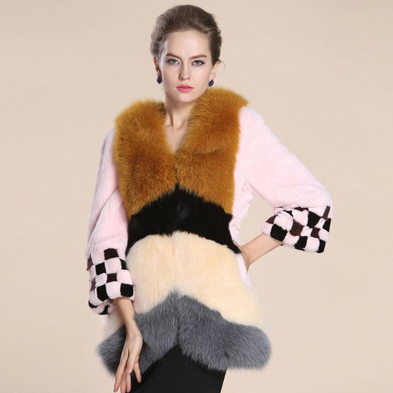 2014冬新款 女獭兔毛兔绒皮草 七分袖狐狸毛领撞色 裘皮大衣特价