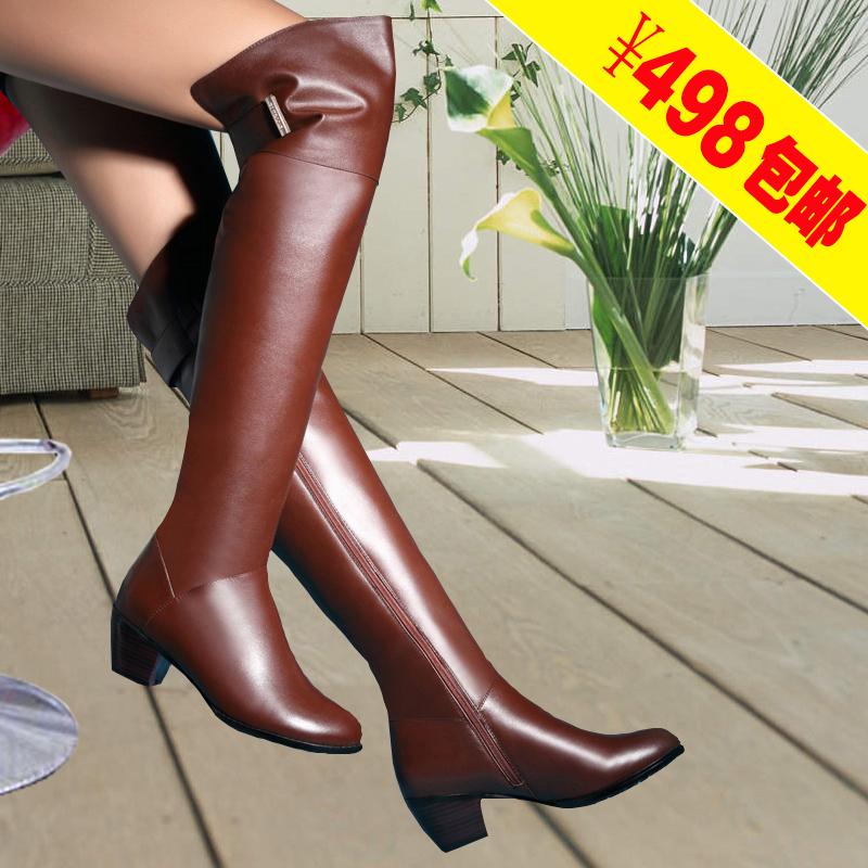 2014秋冬新品全头层牛皮真皮时尚简约款粗跟中跟保暖过膝长靴女靴