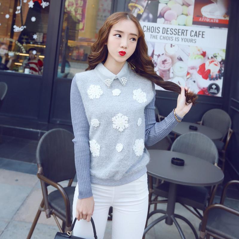 2015春季新款韩版甜美修身保暖长袖套头雪花打底衫