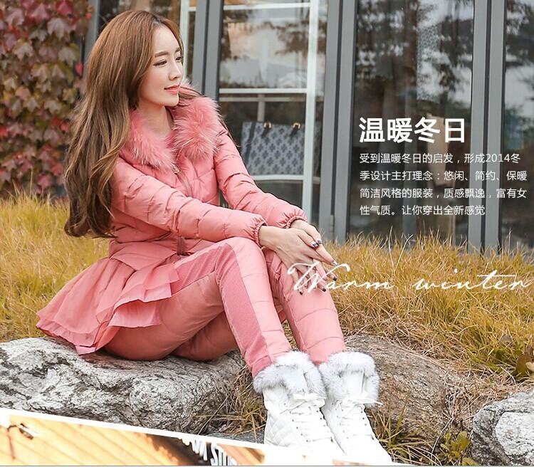 正品欧洲站2014冬装最新款时尚休闲轻薄保暖羽绒服三件套套装女潮