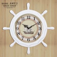 地中海风格创意客厅船舵挂钟装饰时钟时尚餐厅钟表木质挂表20英寸