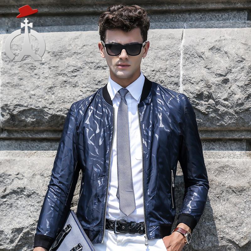 长人欧美简约外套青春流行外穿男士长袖薄款亮面夹克衫男装夹克