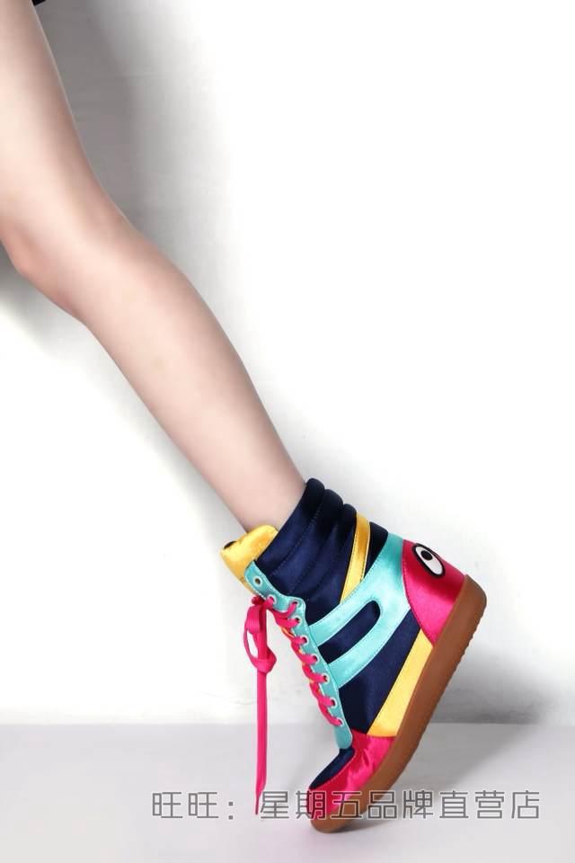 香港代购时尚芭莎亮彩撞色大眼睛高帮鞋系带内增高鞋运动鞋女鞋潮