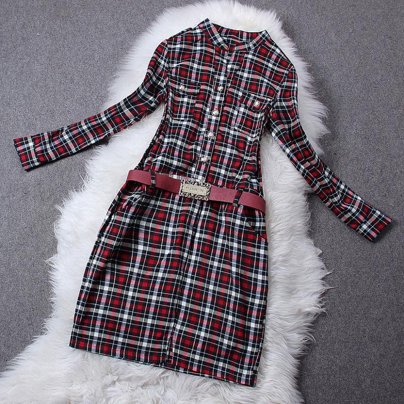 ND欧洲站2014秋冬季新款女装欧美大牌棉立领配腰带格子条纹连衣裙