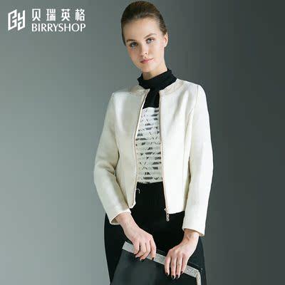 贝瑞英格80%羊毛秋冬季修身显瘦通勤长袖圆领女装外衣毛呢外套女