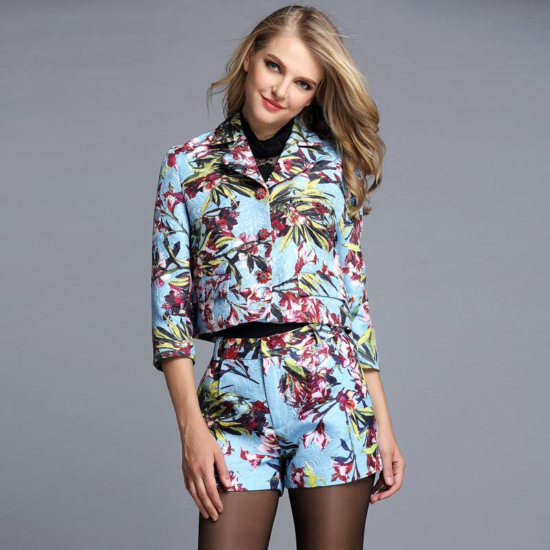 香港代购秋新款套装 欧美高端时尚大牌印花七分袖小香风短裤套装