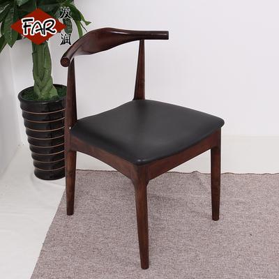 欧式餐椅实木椅靠背椅木椅子牛角椅咖啡椅餐厅椅子