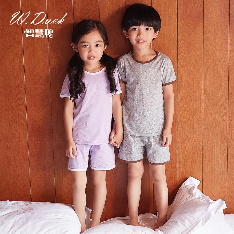 儿童睡衣男童空调服女童短袖睡衣夏季薄款纯棉小童宝宝家居服套装