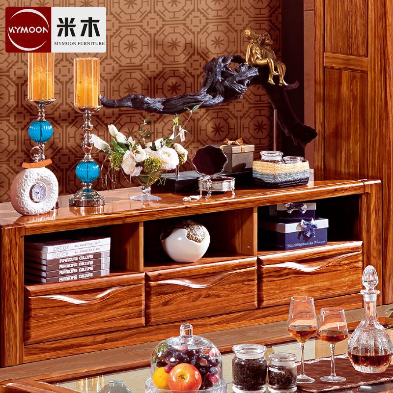 乌金木电视柜组合 现代中式风格原木厅柜实木地柜原木电