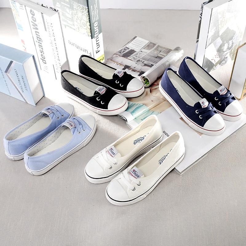 懒人糖果色韩版套脚帆布鞋简单夏季脚蹬女小白鞋