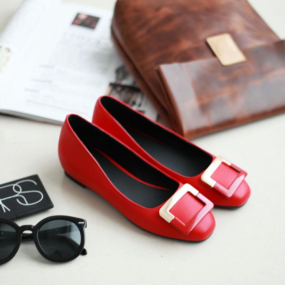 2015春款小香气质小方头红色内增高平底鞋方扣漆皮平跟单鞋婚鞋