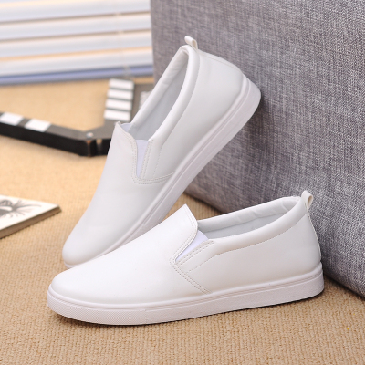 [卖家促销] 秋冬季乐福白色女鞋美容院工作皮鞋懒人鞋驾车护士休闲鞋豆豆板鞋