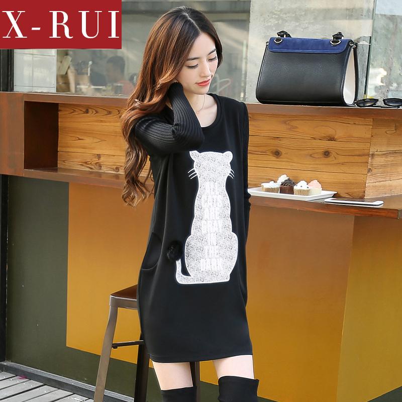 xrui2014新款连衣裙韩版卡通印花针织长袖拼接连衣裙秋冬 打底裙